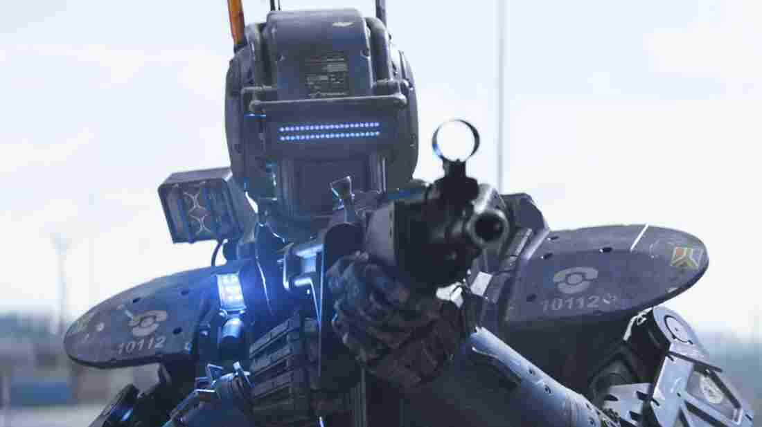 Chappie (pictured above) is a police droid that is reprogrammed to think and feel for himself.