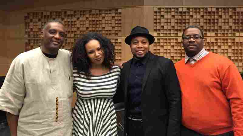 The panel at our screening of The Spook Who Sat By The Door (from left to right): Dr. Greg Carr, Jamilah Lemieux, Cedric Shine and K. Nyerere Ture.