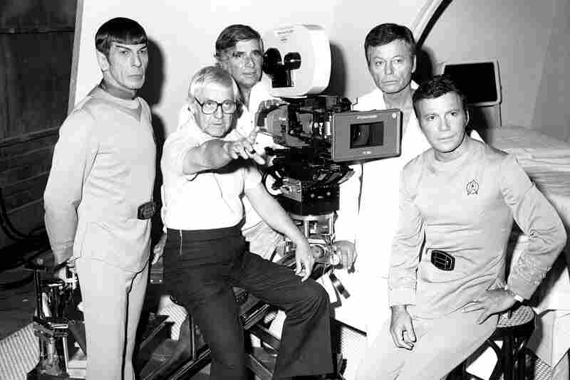The movie Star Trek in production in Hollywood in 1978, involving members of the original television series team: from left, Leonard Nimoy, director Robert Wise, producer Gene Roddenberry, Deforest Kelley and William Shatner.