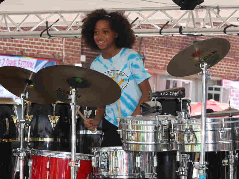 "A'Marie Johnson is one of the young musicians in the Louisville Leopard Percussionists group, whose Led Zeppelin medley recently went viral. ""I want them to feel like rock stars,"" says teacher Diane Downs."