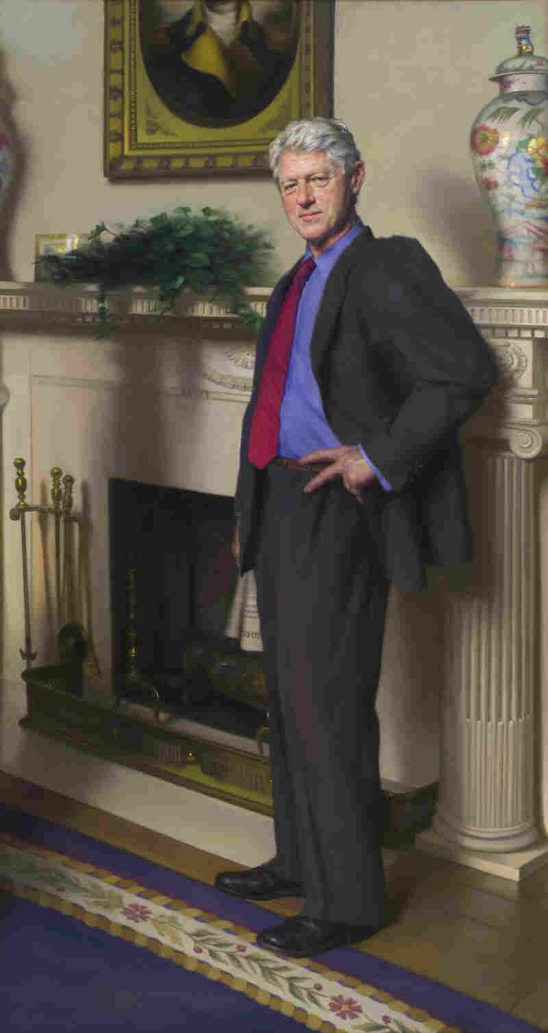 Artist Nelson Shanks' 2005 portrait of former President Clinton, which hangs at the Smithsonian Institution's National Portrait Gallery.