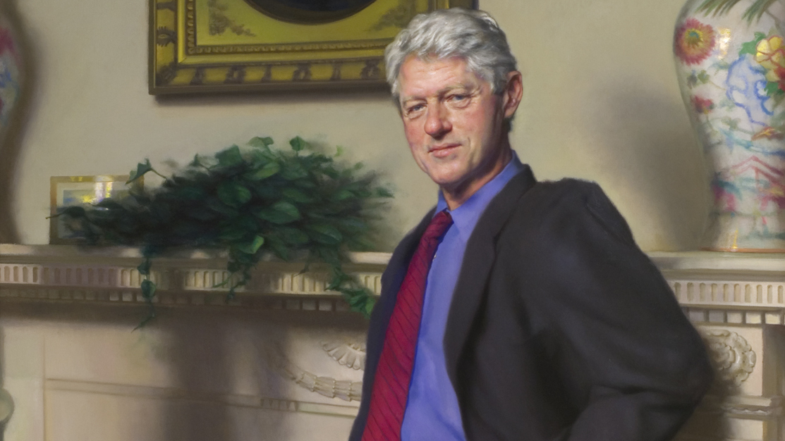 clinton s portrait has hint of lewinsky s blue dress artist says