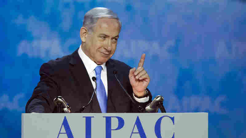 Israeli Prime Minister Benjamin Netanyahu addresses the 2015 American Israel Public Affairs Committee Policy Conference in Washington on Monday.