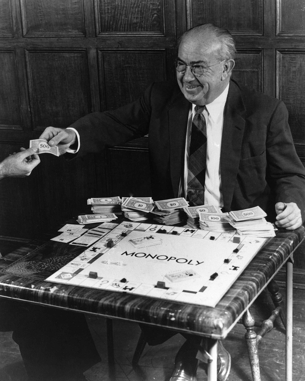 Charles Darrow, seen here in 1958, learned about Lizzie Magie's Landlord's Game through a Quaker friend.
