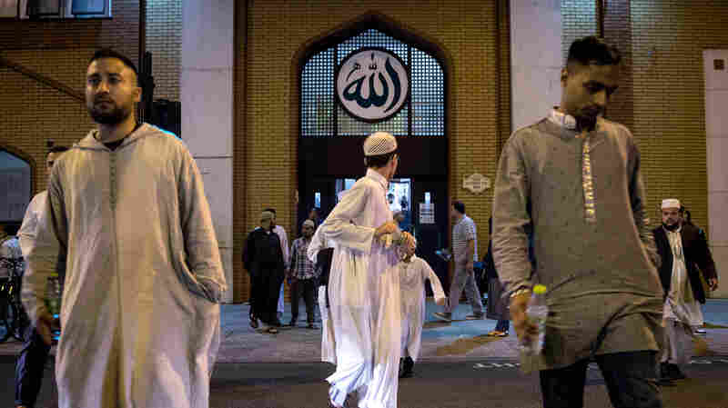 Members of the Muslim community leave the East London Mosque after prayers before the start of the holy month of Ramadan in June 2014. The mosque has an estimated 7,000 worshippers.