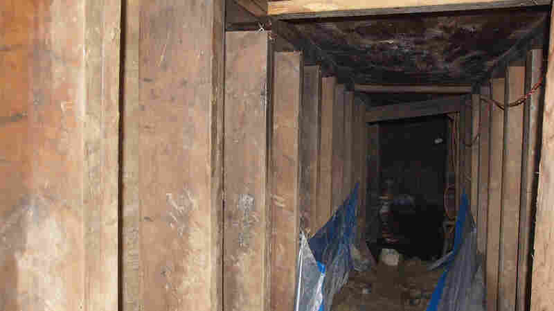 A 33-foot-long tunnel found in Toronto, Ontario, is pictured in this handout photo provided by Toronto Police.