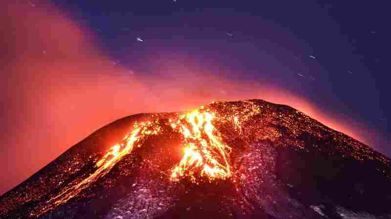 A general view of the volcano, which is Villarrica erupting near Villarrica, some 466 miles south of Santiago de Chile.