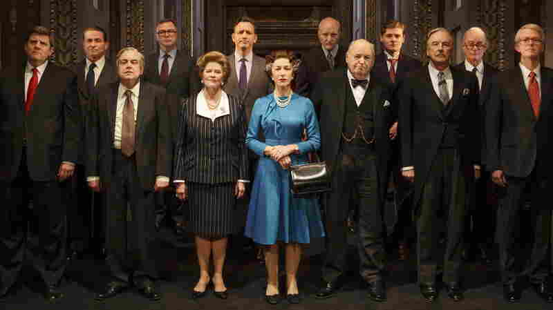 Helen Mirren (in blue) plays Queen Elizabeth II in The Audience, a play that imagines the private conversations between the queen and her prime ministers.