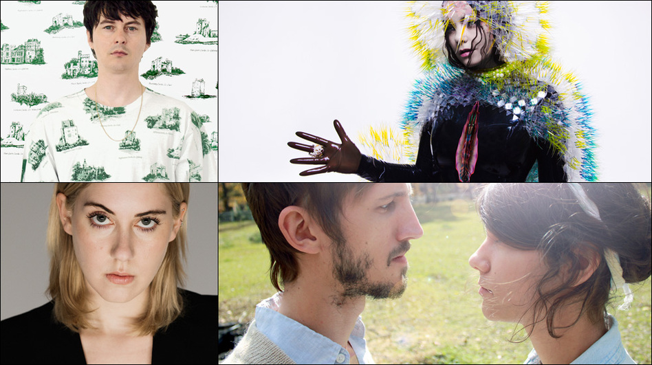 Clockwise from upper left: Panda Bear, Björk, Lowland Hum, Torres (Courtesy of the artists)
