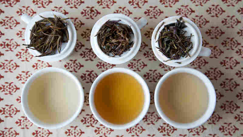 Three varieties of Kenyan purple tea from What-Cha: silver needle purple varietal white tea (from left), hand-rolled purple varietal oolong, steamed purple varietal green tea-style tea.
