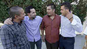 Scott Budnick (second from left) stands with (from left) Jimmy Wu, who served 16 years in prison and is now a mentor; Jesse Aguiar, former gang member and now a counselor; and Franky Carrillo, who was freed by the Innocence Project after 21 years in prison.