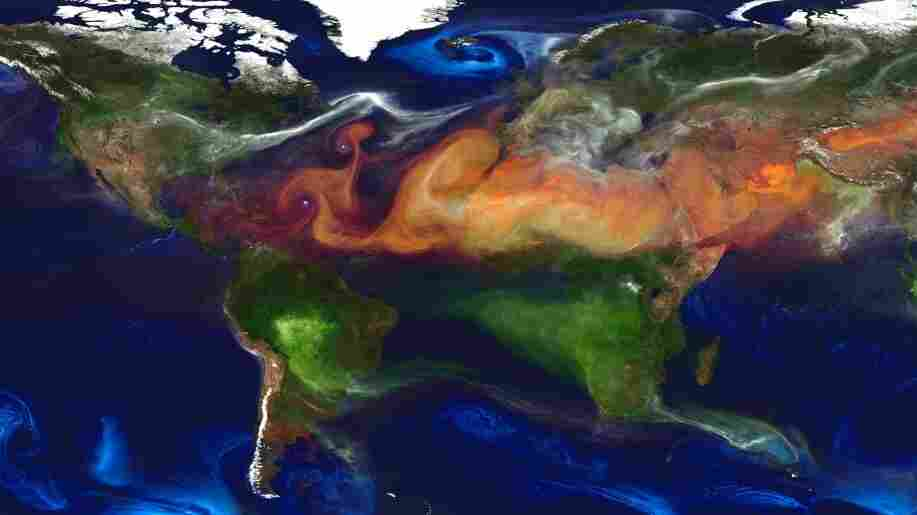 A lot of the airborne particles in the Earth's atmosphere come from natural sources, such as desert dust (red-orange) and sea salt (blue). But there's also soot from fires (green and yellow) and sulfur emissions (white) from burning fossil fuel.