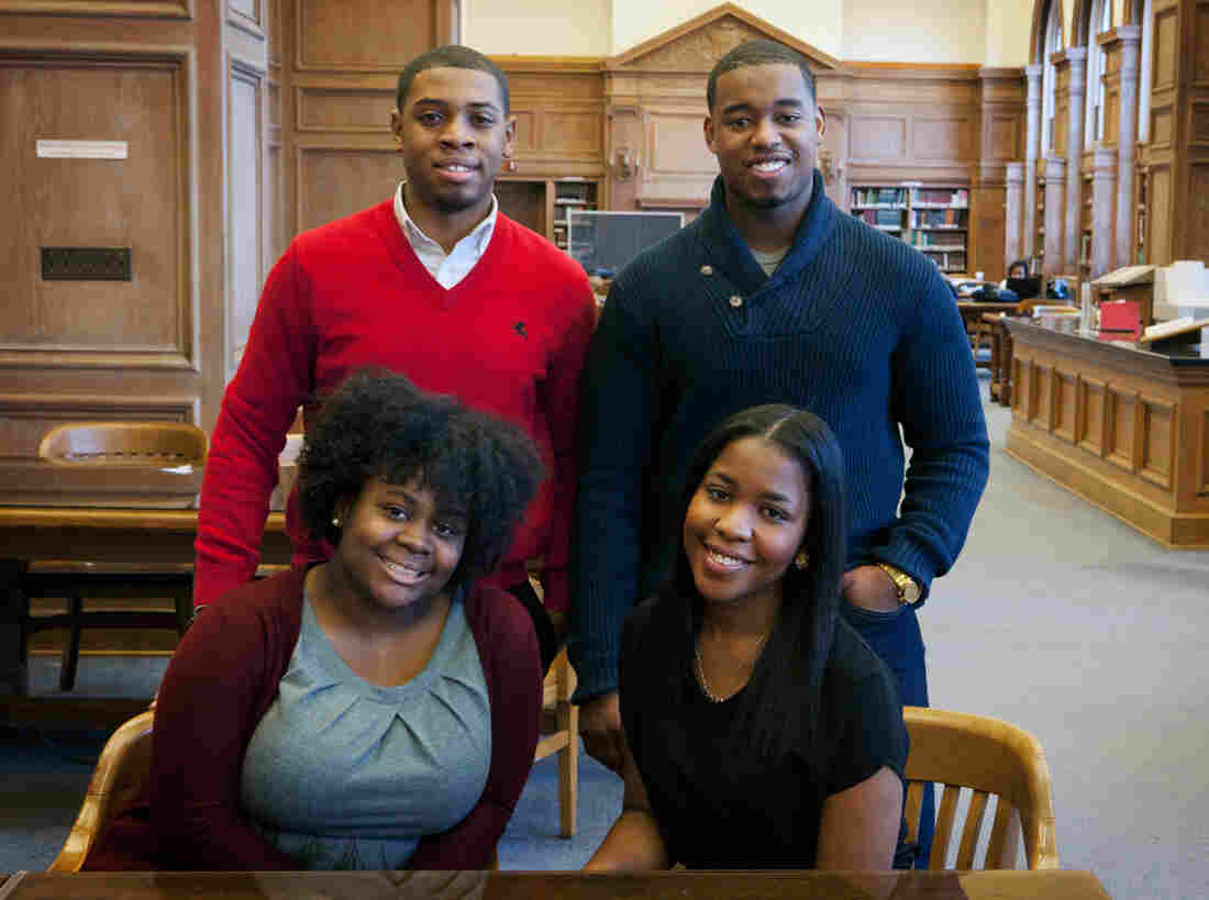 """""""The Howard Project"""" participants Kevin Peterman (top left), Leighton Watson, Ariel Alford (bottom left) and Taylor Davis, shown in the Howard University library, are offering insights into their thoughts and fears as they approach the end of the senior year."""