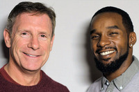 Retired California Highway Patrol Officer Kevin Briggs (left) and Kevin Berthia at StoryCorps in San Francisco.