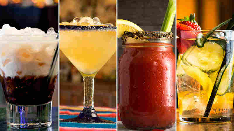 The White Russian (from left), margarita, bloody mary and Moscow mule are some of the most searched cocktails of 2015.