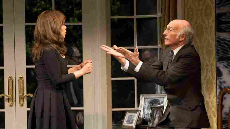 Rosie Perez plays Fabiana Melendez and Larry David plays Norman Drexel in the new Broadway play Fish in the Dark.