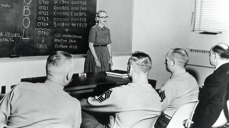 Grace Hopper joined the Navy during World War II and served on and off until 1986.