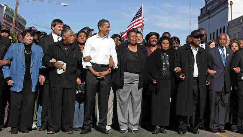 Barack Obama as a presidential candidate in Selma, Ala., in 2007 re-creating a voting rights march that was violently repressed by state troopers in 1965.