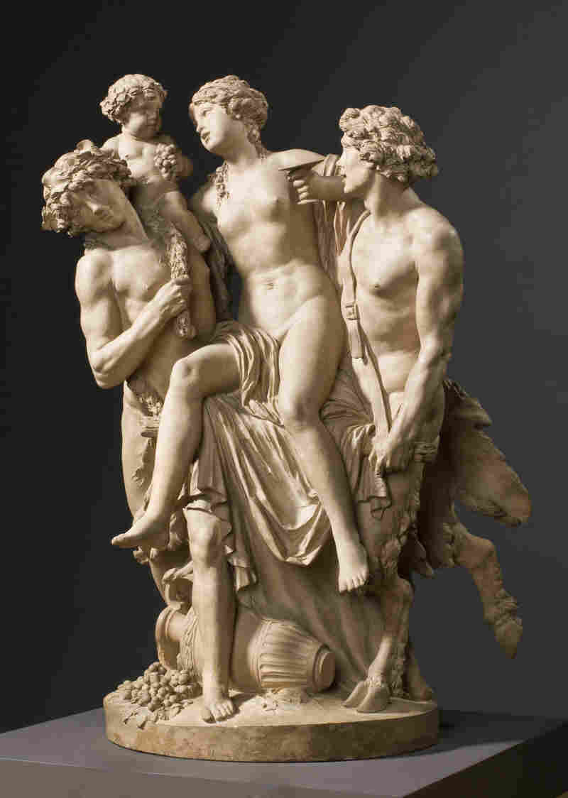 French sculptor Claude Michel (called Clodion) made this terracotta sculpture, Bacchante Supported by Bacchus and a Faun, in 1795.