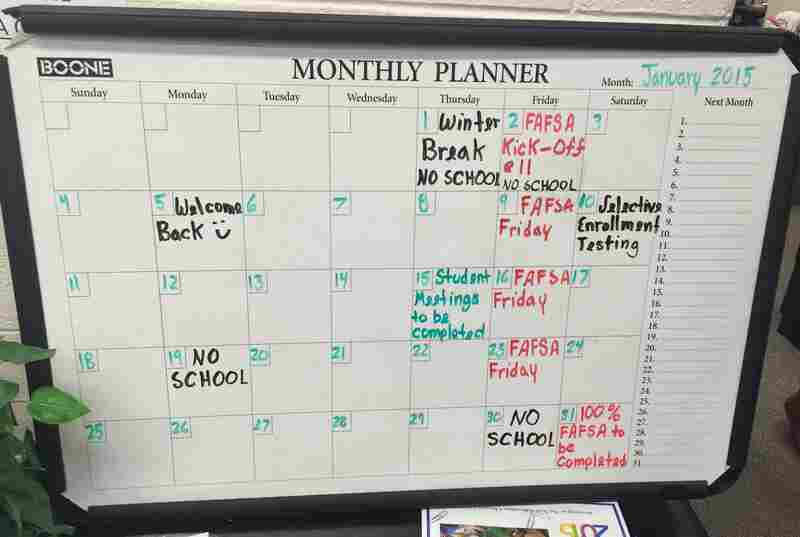 A January calendar in the counseling office at King College Prep lists FAFSA dates.