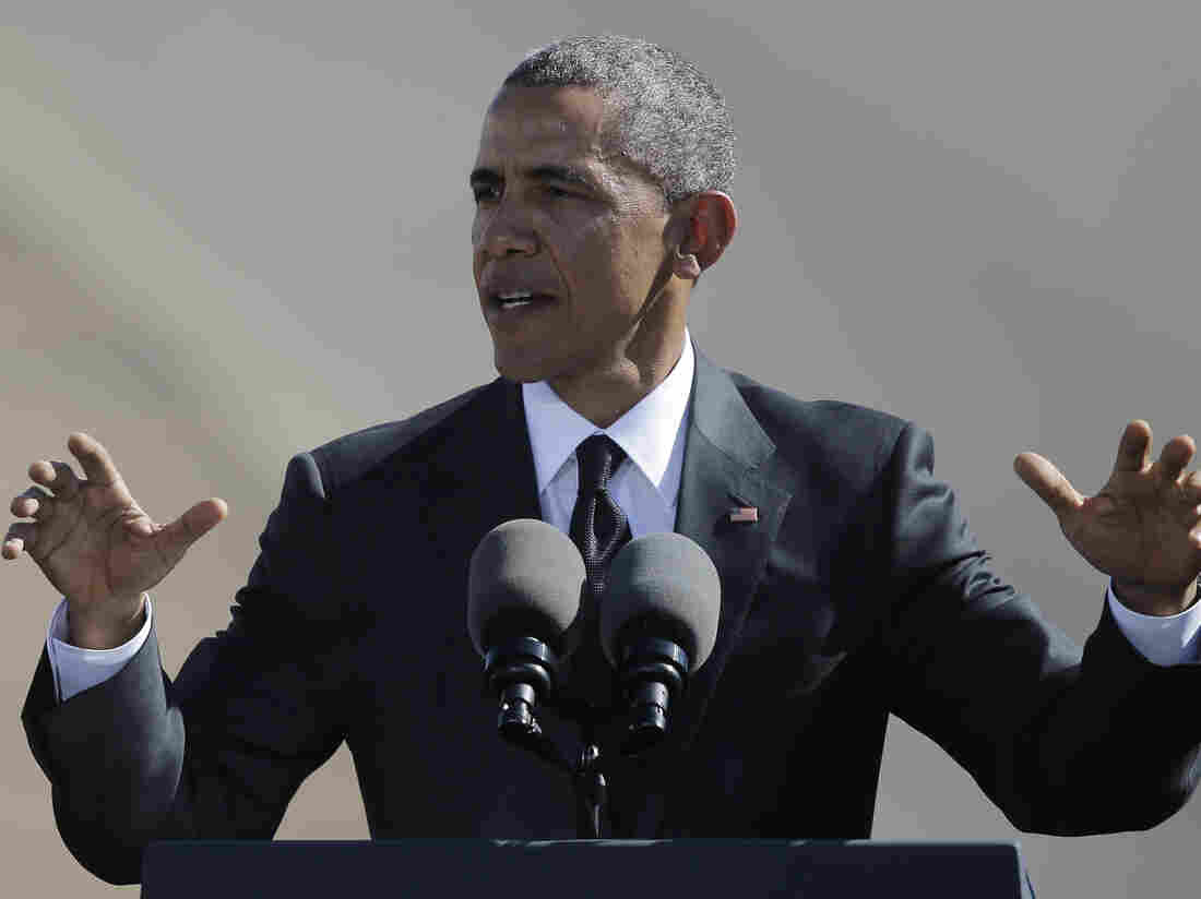 """President Obama speaks near the Edmund Pettus Bridge in Selma, Ala., on Saturday, to mark the 50th anniversary of the """"Bloody Sunday"""" civil rights march."""