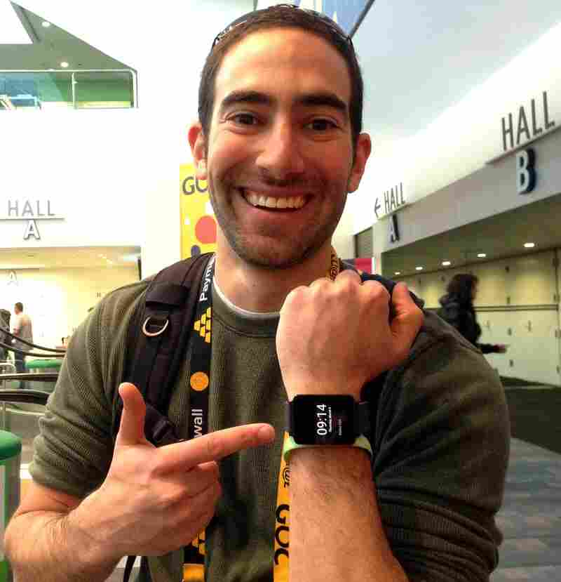 Eitan Marder-Eppstein shows off his LG smart watch at a March 2014 convention for Game Developers in San Francisco.