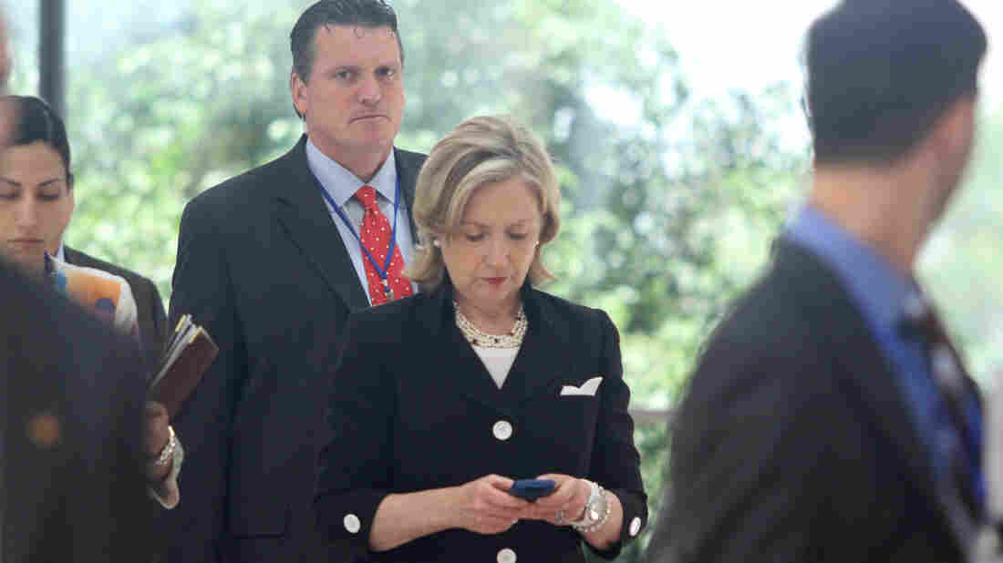 """Then-Secretary of State Hillary Clinton checking her phone in 2010. For many Democrats, the answer to the question: """"If not Hillary, who?"""" is — disaster."""