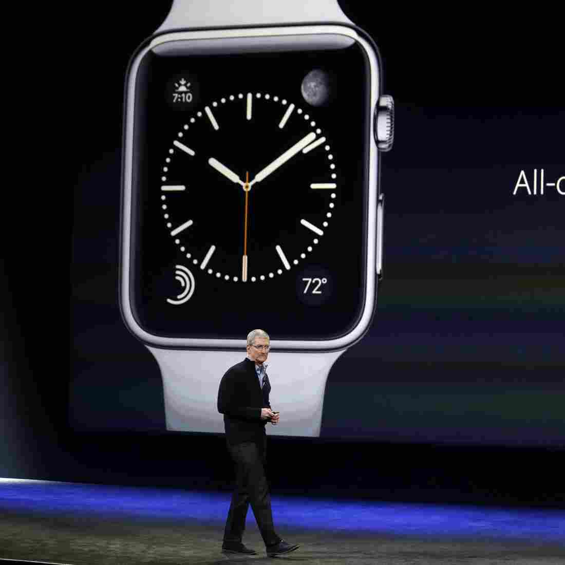 Apple CEO Tim Cook talks about the new Apple Watch at an event Monday in San Francisco.