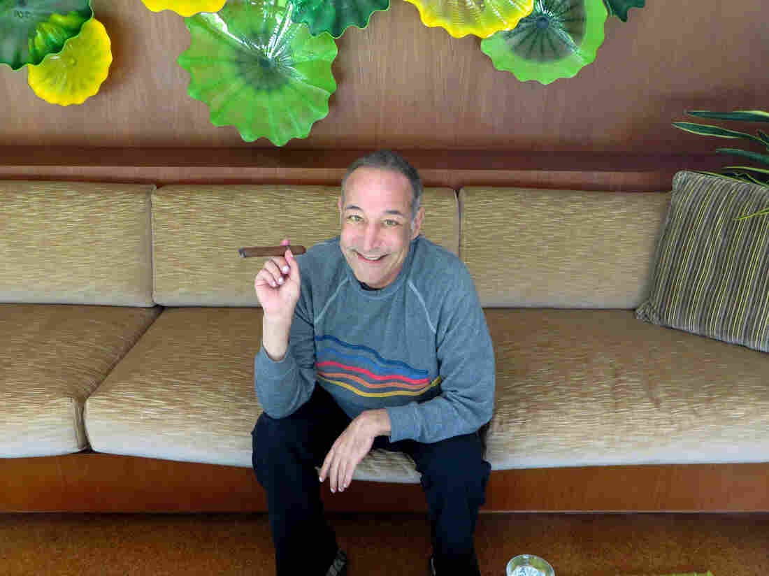 Sam Simon, co-creator of The Simpsons, shown here in 2013 at his home in Pacific Palisades, Calif., died Sunday at 59.