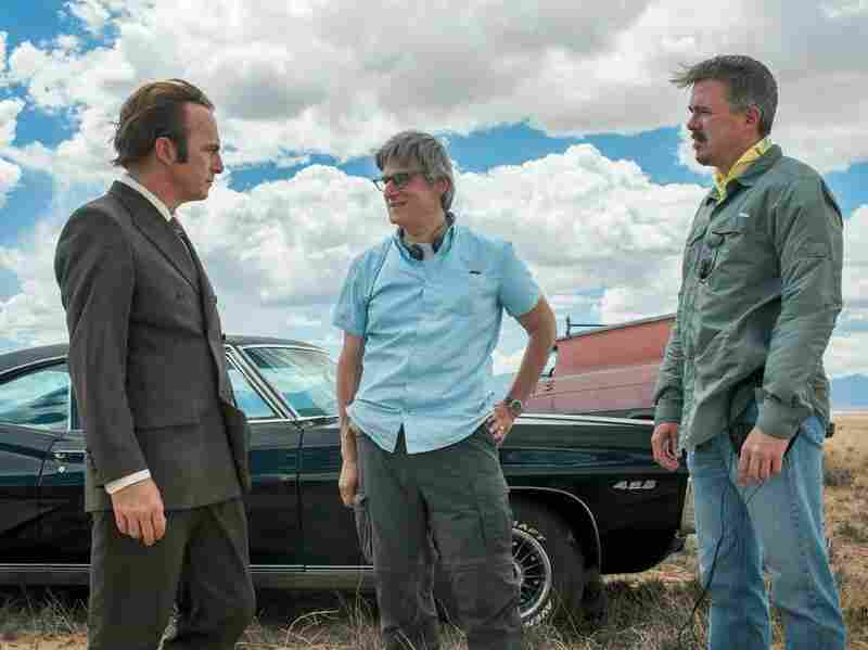 Peter Gould (center) co-created Better Call Saul, starring Bob Odenkirk (left), with Breaking Bad creator Vince Gilligan (right).