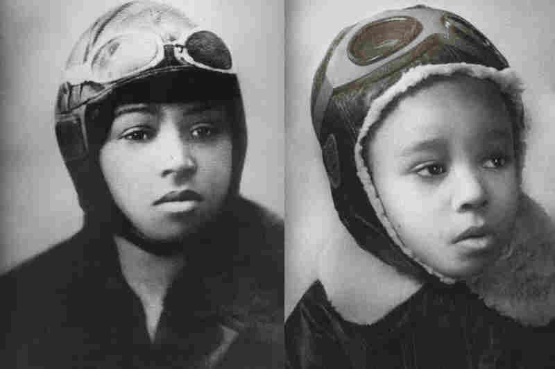 "Lily as Bessie Coleman, the first African-American to hold an international pilot license, admired for ""her ability to do barrel rolls, wing walks and her loop-de-loop trick aviation."""