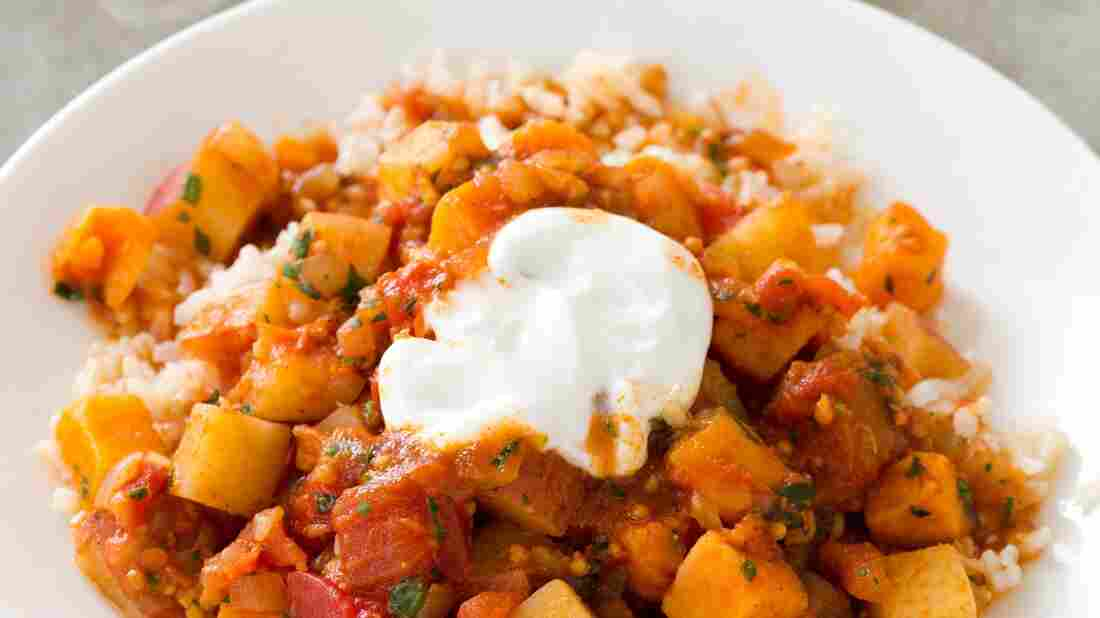 """Tomato paste gives the Potato Vindaloo its """"backbone,"""" """"structure"""" and """"depth,"""" says America's Test Kitchen's Jack Bishop. """"'You probably wouldn't identify it in the finished dish, but leave it out and you would notice the difference."""""""
