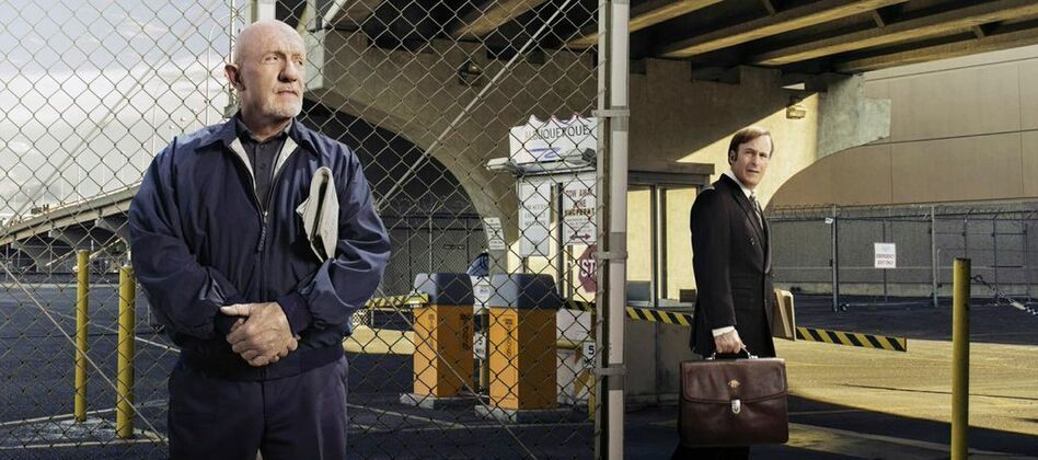 Jonathan Banks' character Mike Ehrmantraut (left), a hit man and fixer, was a natural to bring back to <em>Breaking Bad</em>'s prequel <em>Better Call Saul</em>. Co-creator Peter Gould says he was the right contrast with Saul Goodman, played by Bob Odenkirk (right). (Ben Leuner/AMC)