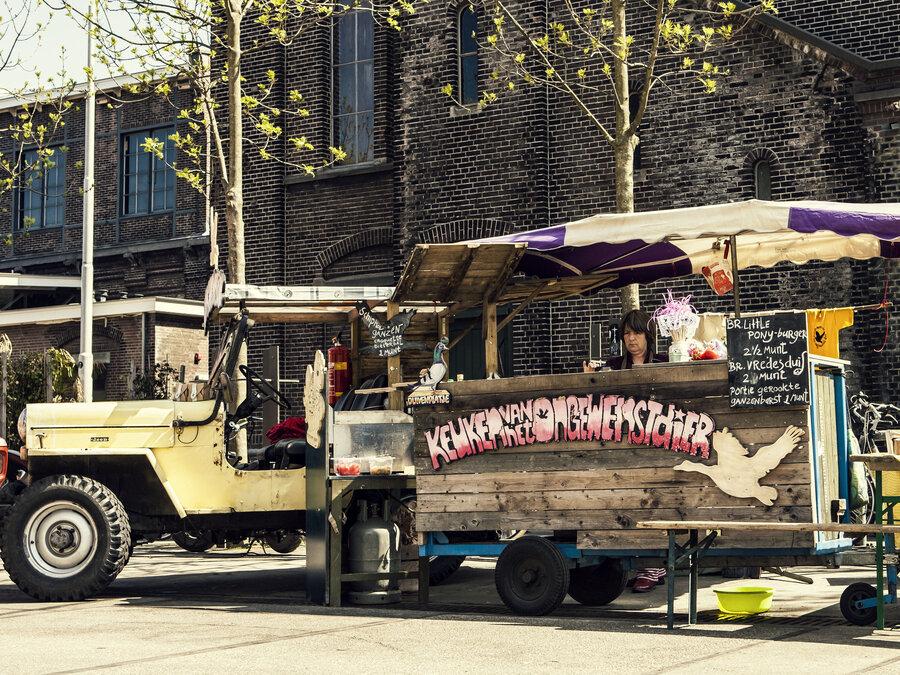 Artist Nicolle Schatborn At The Kitchen Of Unwanted Animals Food Truck In Amsterdam