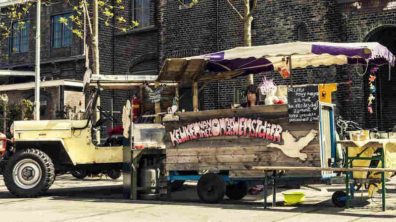 Artist Nicolle Schatborn at The Kitchen Of The Unwanted Animals food truck in Amsterdam.