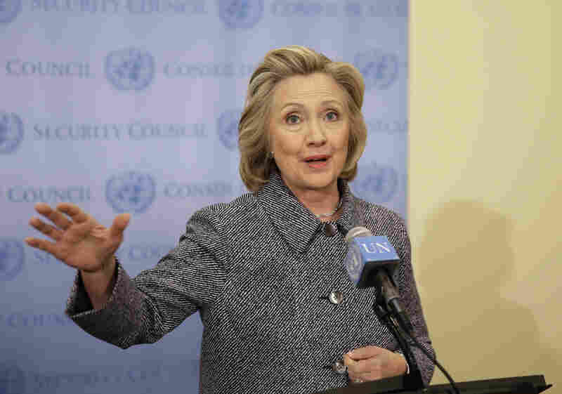 Former Secretary of State Hillary Clinton speaks to reporters Tuesday at United Nations headquarters, where she said she chose to use a personal email account for government business out of convenience.