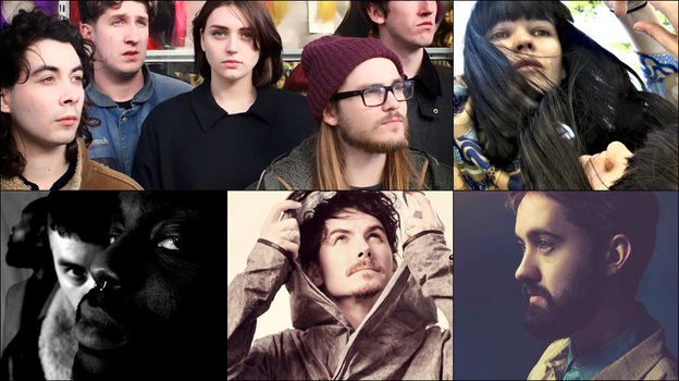 Clockwise from upper left: Joanna Gruesome, Trish Keenan of Broadcast, Conor O'Brien of Villagers, Eskmo, Young Fathers (Courtesy of the artists)