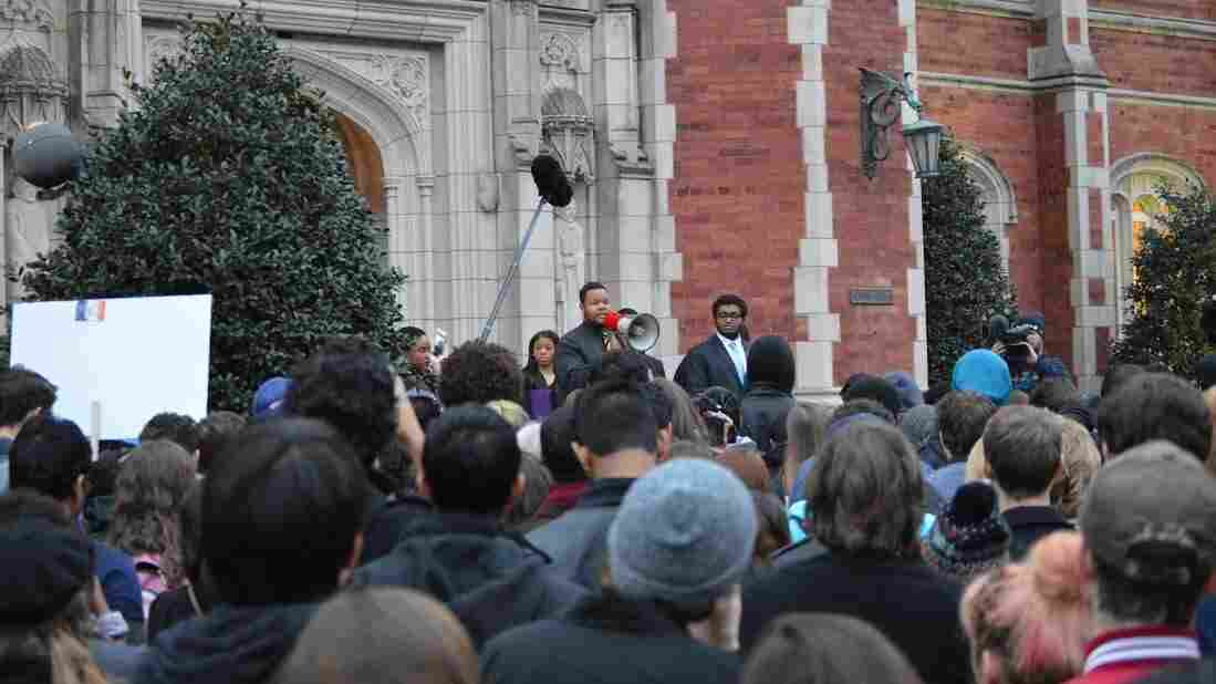 A rally was held outside the University of Oklahoma's Evans Hall on Monday to protest a video featuring racist chants allegedly by Sigma Alpha Epsilon fraternity members. Two people in the video were expelled Tuesday.