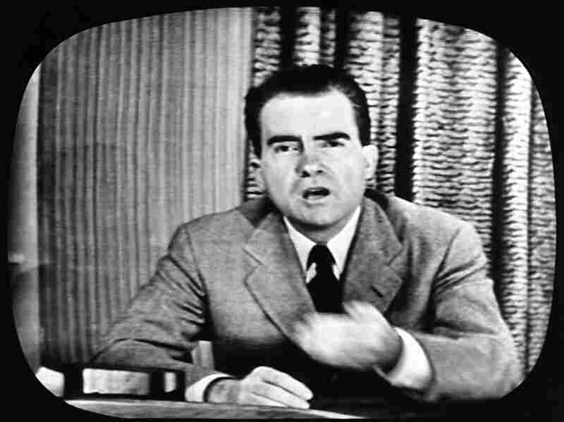 """Richard Nixon, Republican candidate for the vice presidency, explains an $18,000 expense fund on national television on Sept. 23, 1952. The appearance was nicknamed his """"Checkers"""" speech because of his reference to the family cocker spaniel, the one contribution he admitted receiving, from a Texas supporter."""