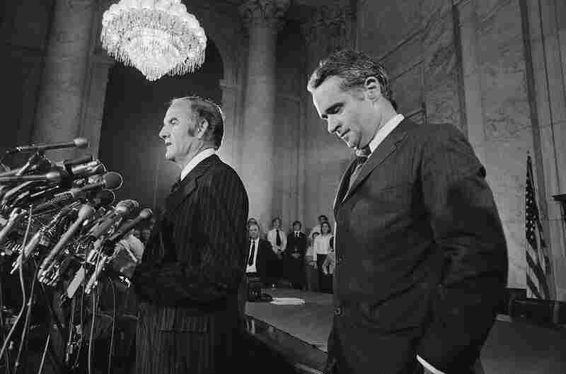Sen. George McGovern announces that Thomas Eagleton (right) is stepping down as his vice presidential running mate at a press conference on July 31, 1972.