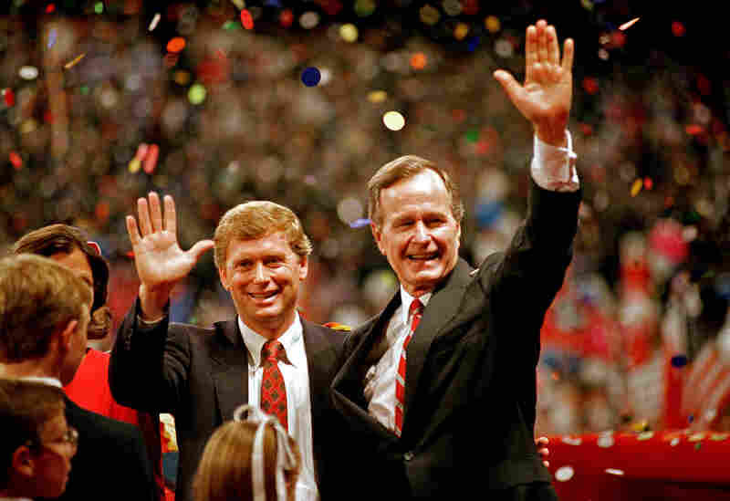 Republican presidential candidate and Vice President George H.W. Bush (right) and his running mate Sen. Dan Quayle (R-Ind.) at the Republican National Convention in New Orleans in 1988.