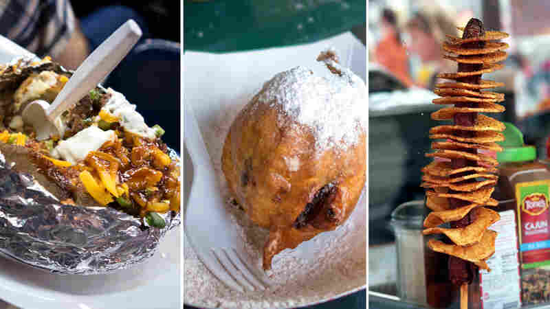 (Left to right) Rodeo concessions include the loaded potato; deep-fried chocolate cupcake and the Texas Tater Twister, a spiral-cut