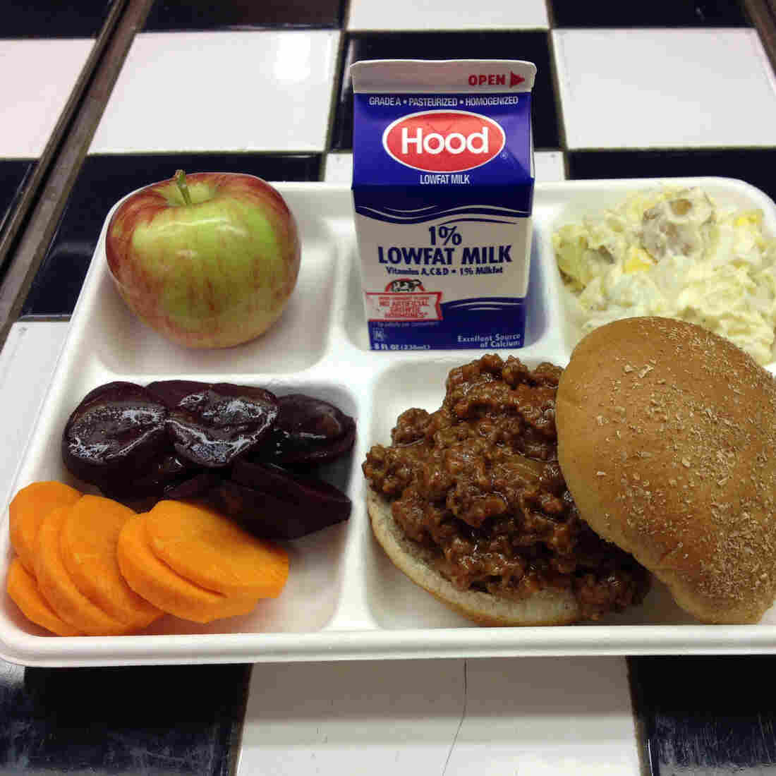 A lunch served by the Yarmouth, Maine, School Department on Sept. 26, 2014, featured Sloppy Joe's made with Maine beef and local beets, carrots, apples and potato salad. More than 80 percent of Maine schools said they served local foods in a survey conducted by the USDA.