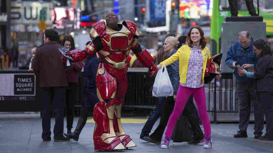Tituss Burgess and Ellie Kemper star in the Netflix series Unbreakable Kimmy Schmidt.