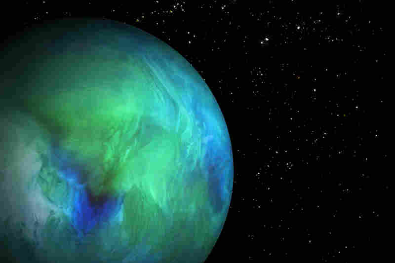 Planet: bottom of a glass containing half-and-half, water and food coloring. Stars: salt, cinnamon and baking powder.