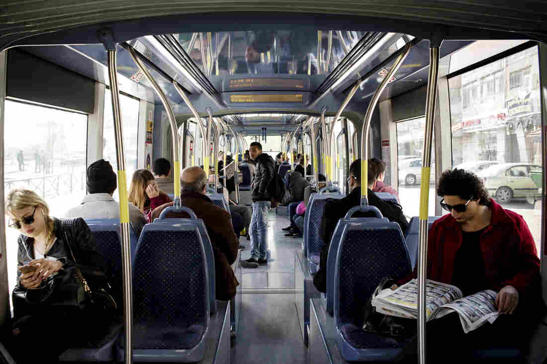 Israel's light rail system connects the divided city, running through both Jewish and Palestinian neighborhoods.