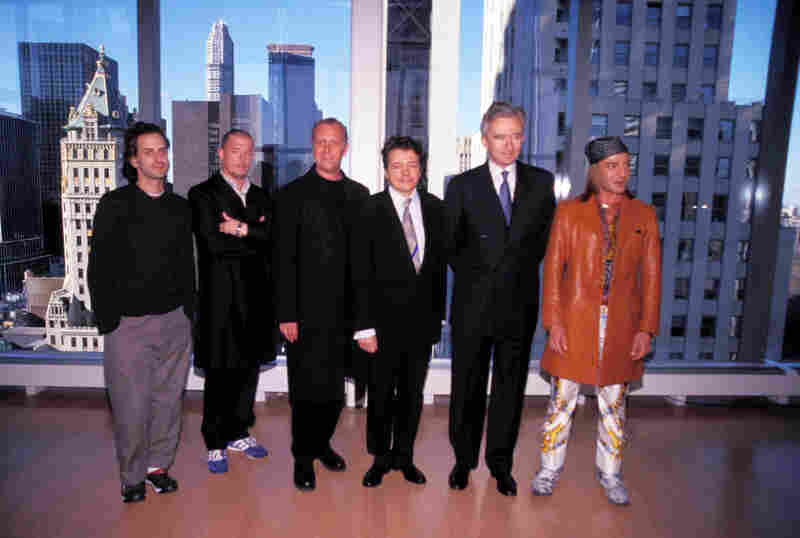 "In this 1999 photo, LVMH CEO Bernard Arnault (second from right) poses with the four ""kings"" of LVMH's most prominent fashion brands: (L-R) Marc Jacobs, the late Alexander McQueen, Michael Kors, architect Christian de Portzamparc and John Galliano."