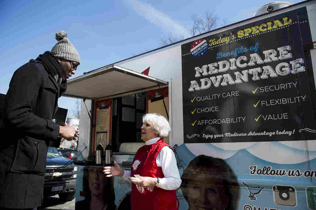 Carol Berman, of West Palm Beach, Fla., makes the case for policymakers to protect Medicare Advantage benefits during the Coalition for Medicare Choices' Medicare Advantage Food Truck stop in Washington, D.C., on Monday.