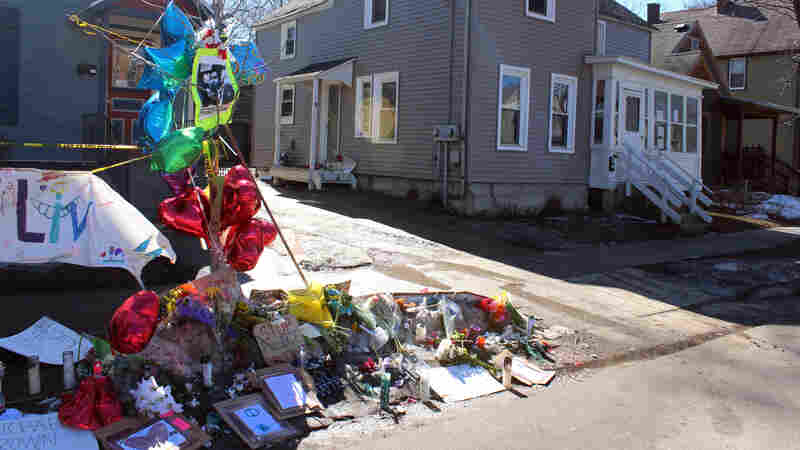 A makeshift memorial is seen on March 11 in Madison, Wis., in remembrance of 19-year-old Tony Robinson, who was fatally shot by a Madison police officer on March 6.
