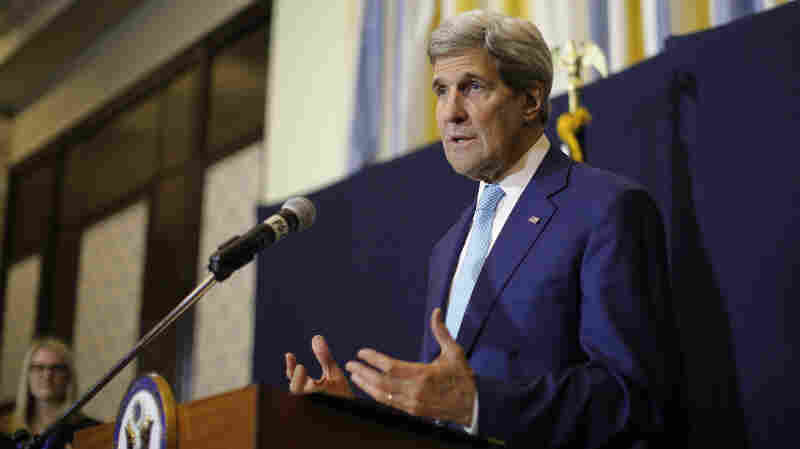 "U.S. Secretary of State John Kerry speaks at a news conference in Sharm el-Sheikh, Egypt, on Saturday. Kerry said he's returning to nuclear negotiations with Iran with ""important gaps"" standing in the way of a deal."
